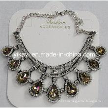 Мода женщины ювелирные изделия шампанское Водослива хрусталя Кулон ожерелье (JE0210-шампанское)