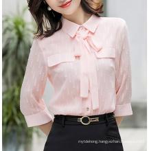 Shirt Women New Bow Design Chiffon Blouses Office Work Tops