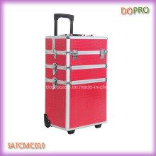 Pink Crocodile PVC 4 in 1 Rolling Beauty Case on Wheels (SATCMC010)