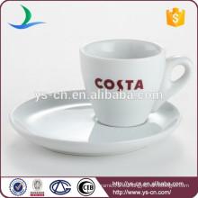 Diseño moderno 95ml de porcelana blanca reutilizable taza de café personalizado al por mayor