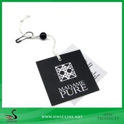 Sinicline Square Black Hang Tag with Nylon String and Plastic Bead