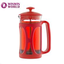 Venta caliente promoción 350 ml doble filtros Mejor café cristal prensa de Borosilicato francés
