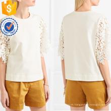 Venta caliente blanca manga corta guipur de algodón de verano superior fabricación al por mayor ropa de mujer de moda (TA0076T)