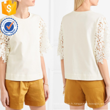 Vente chaude Blanc Manches Courtes Guipure Dentelle Coton Été Haut Fabrication En Gros Mode Femmes Vêtements (TA0076T)