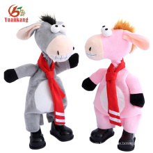 Nuevos juguetes de canto Custom Musical Dancing Soft Stuffed Small Animal Plush Donkeys Toy