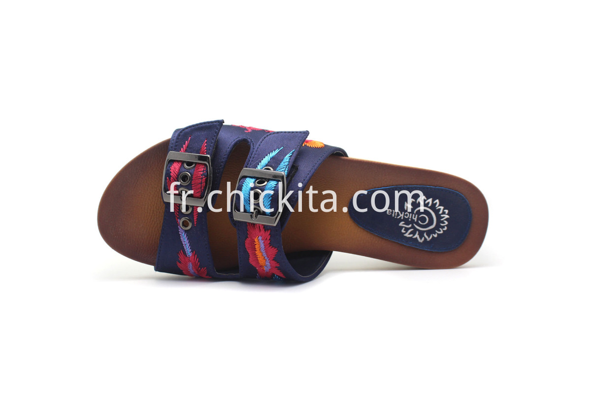 Ladies Embroidery Comfort Footbed Sandals