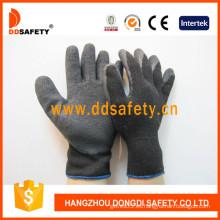 Concha negra T / C, guantes de recubrimiento de látex negro, acabado arrugado (DKL338)