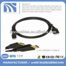 Preto pvc slim Alta velocidade 1.4V cabo HDMI 1080P 3D com ethernet para HDTV