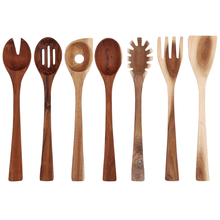 7 pcs of one set wooden kitchen utensils