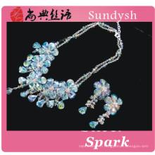 À la main style vintage multi couche bleu perlé déclaration pierre cristal fleur chunky mode gros bulle bavoir colliers
