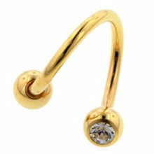 Gold Plated Double Jewelled Body Spiral Barbell