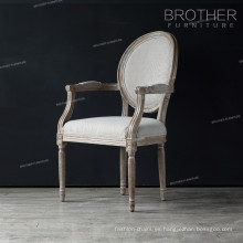 Sillas de comedor de madera redondas de la silla de la parte posterior de la parte posterior con los apoyabrazos