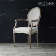 Chaises de salle à manger en bois antiques banquet dos rond avec accoudoir