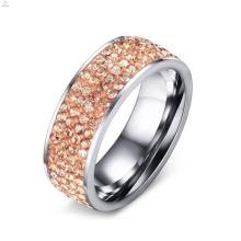 Hotsale Aço Inoxidável Rose Gold Paved Diamond Ring