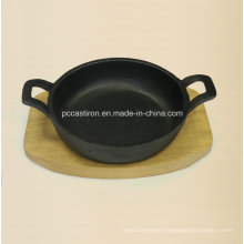 Preseasoned Cast Iron Mini Serving Skillet with Wooden Base Oil Finished