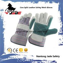 Double Palm Industrial Safety Cow Luva de trabalho em couro dividida