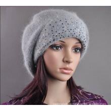 Womens Wolle Angora gestrickt Perlen Slouchwarm Hut Mütze Mütze (HW140)