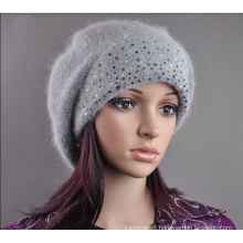 Womens Wool Angora Knitted Beads Slouchwarm Hat Beret Beanie (HW140)
