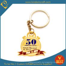 Entwerfen Sie Ihr eigenes Logo Gold Finished Metall Schlüsselbund