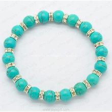 Pulsera turquesa con anillo de Diamon blanco para accesorios de moda Brazalete