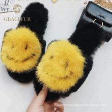 Zapatillas de piel de visón reales de precio directo de fábrica