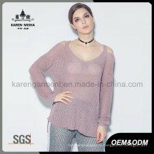 Карен Женская мода с плеча длинный рукав ажурной вязки одежды
