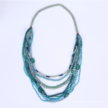 Long Multi Stands Plastic Bead Necklace