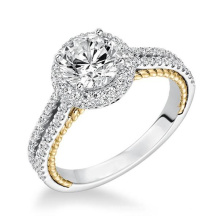 14k Gold Over Silver Two Tone Halo Diamond Engagement Rings