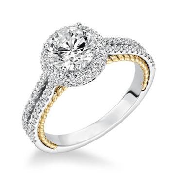 14k Gold über Silber Zwei Ton Halo Diamond Engagement Ringe