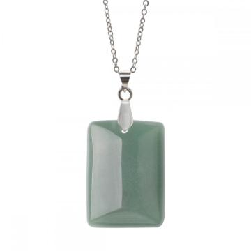 Natural Green Aventurine Rectangle Gemstone Pendant Neckalce with 45CM Silver Chain