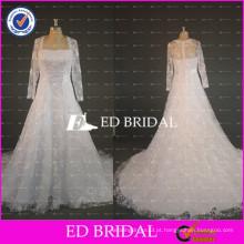ED Bridal Real Sample Heavy Beaded Lace Appliqued A Line Vestidos de casamento 2017 com manga comprida