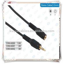 Cabo AV, macho de 3,5 mm para cabo de extensão de áudio feminino