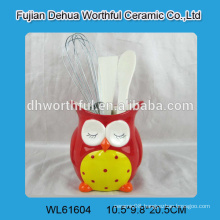 Kitchen accessory ceramic utensil holder with owl shape