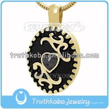 2016 Dubai Gold Joyería de Acero Inoxidable Dearest Memorial Colgante para Mascota Ceniza Esmalte Negro Jewelrt Cremación con Piedra Grande