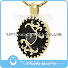 2016 Dubai Gold Stainless Steel Jewelry Dearest Memorial Pendant for Pet Ash Black Enamel Cremation Jewelrt with Big Stone