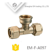 EM-F-A097 Brass female threaded tee pipe compression branch pipe fitting