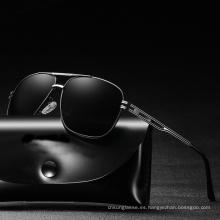 Gafas de sol para hombre con montura de metal polarizadas clásicas de alta calidad para lentes de sol TAC
