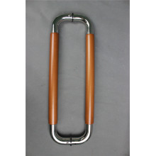 Pull Handle In Stainless Steel With Wood Insert