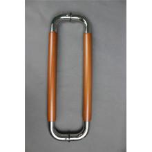 Puxar o punho no aço inoxidável com inserção de madeira