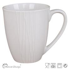 Tasse de café de gaufrage de porcelaine blanche simplement de conception