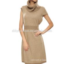 luva pescoço cachemira mangas curtas vestido de túnica vestido de túnica longa
