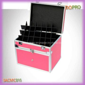 Color rosa fácil llevar la manija de aluminio esmalte de polaco caso (sasc015)