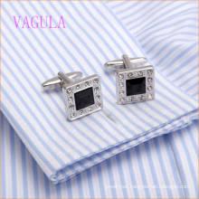 VAGULA High-Grade CZ Rhinestone Square Shirt Cuff Links