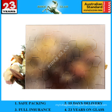 3-8mm Bronze Karatachi/Puzzle Patterned Glass with AS/NZS2208: 1996