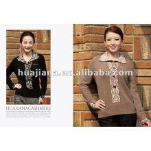 Jersey de suéter de cachemir pesado de mediana edad de las mujeres de lujo