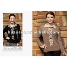 Suéter de camisola de caxemira pesada de mulher de meia-idade de luxo