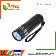 Factory Supply White Light Emergency Used 3*AAA Operated Cheap 9 led Aluminum Flashlight with Wrist Strap