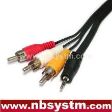 Connecteur 4 pôles 2,5 mm mâle à câble 3RCA câble mâle