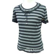 Short Sleeve Strip Colour S/S Knit Top
