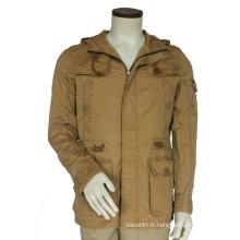 Veste militaire chaude d'hiver pour hommes à glissière pleine longueur doublée en fausse fourrure